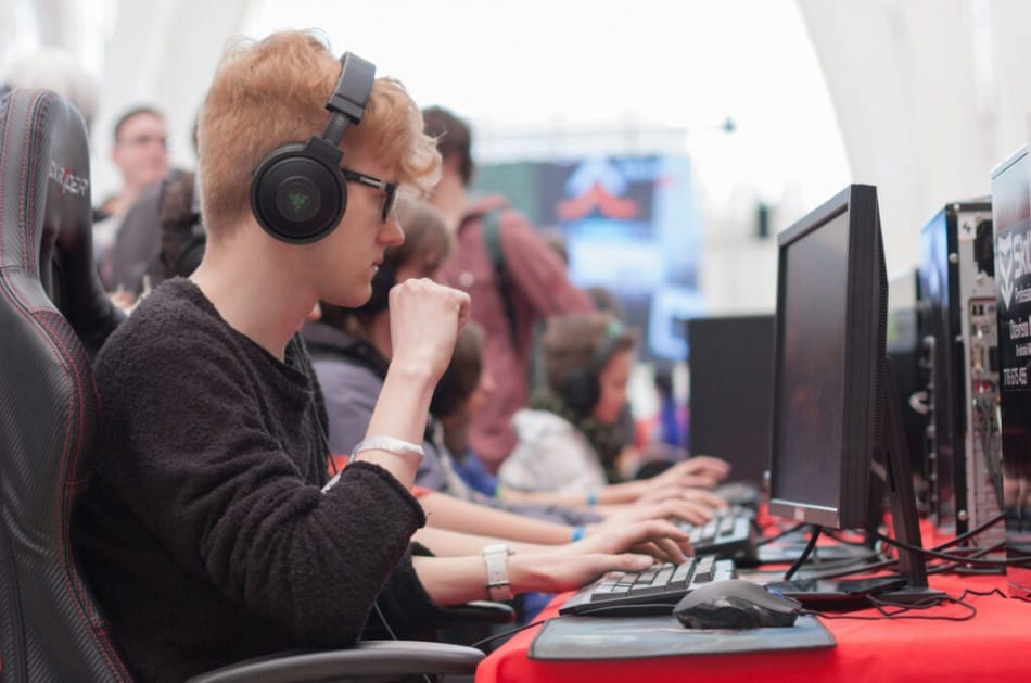 LAN party with boy playing games